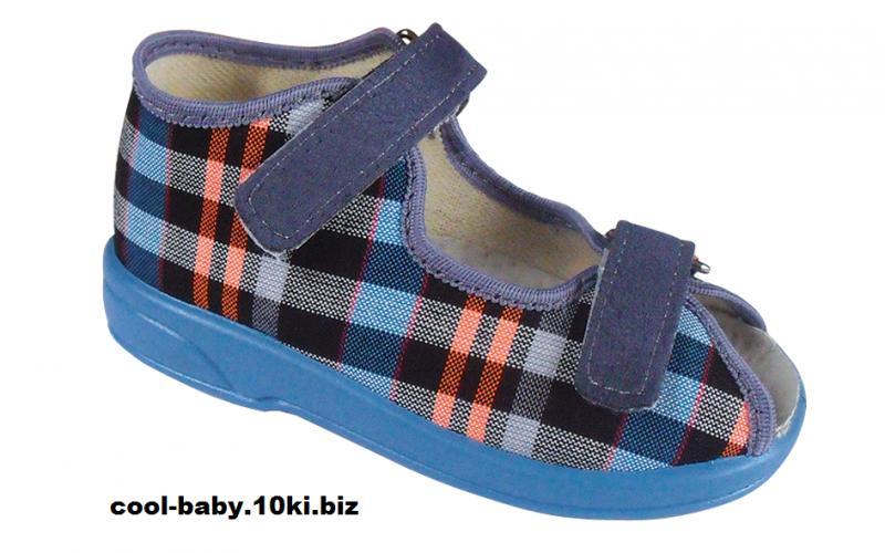 Детские босоножки текстильные для мальчика клетка синие OLIWIER 2151 ZETPOL 20-27