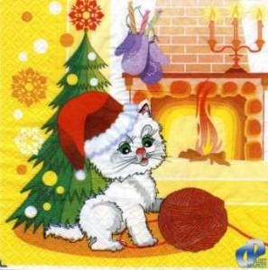Фото Салфетки для декупажа, Праздники Салфетка Новогодний кот СД-009