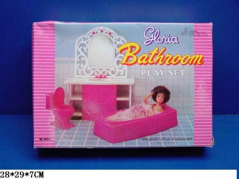 Мебель для кукол, ванная комната розовая