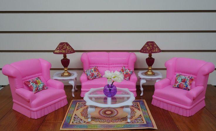 Мебель для кукол - розовая гостинная