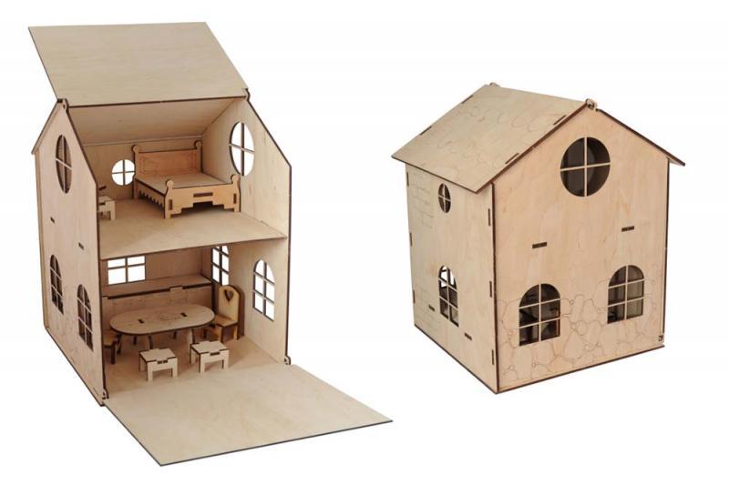 Деревянный кукольный домик (без краски)