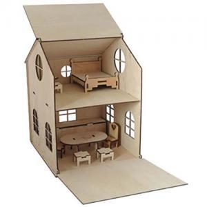 Фото Для девочек , Кукольные домики Деревянный кукольный домик (без краски)