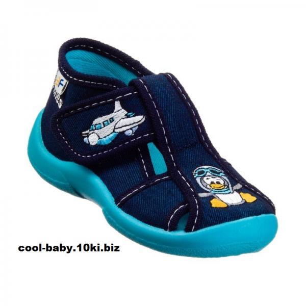 Детские тапочки текстильные  для мальчика пингвин темно-синие ZABKA 2B5/10 3F 20-25