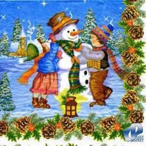 Фото Салфетки для декупажа, Праздники Салфетка Снеговик и дети СД-019