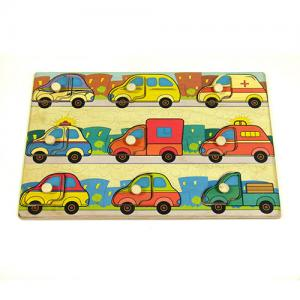 Фото Деревянные игрушки  Вкладыши «Транспорт – подбери дверцу» с чопиками