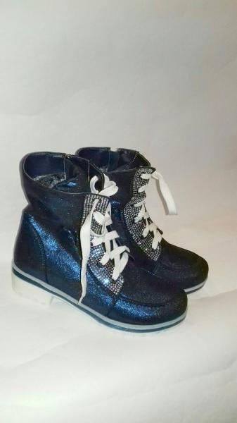 Подростковые ботинки синии блестящии Beby Sky 34,36