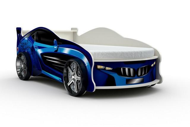 Кровать-машина «Форсаж», цвет синий