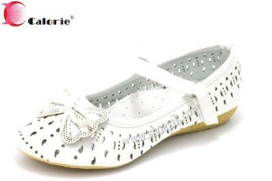Детские туфли для девочки Calorie 085-13В белый ажур бантик 32-37