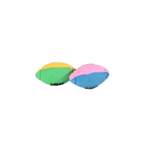 Мяч зефирный д/регби двухцв, 6 см в пакете 4 шт