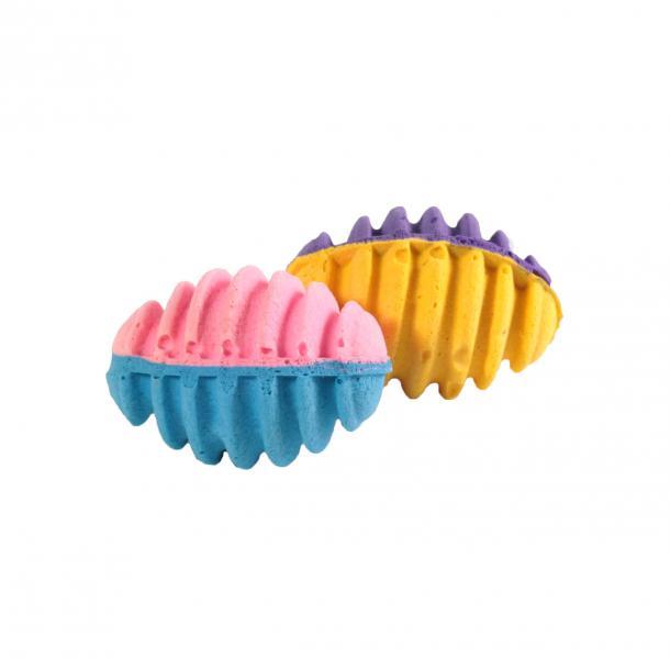 Мяч зефирный д/регби спирал, двухцв, 5 см 25 шт в упаковке