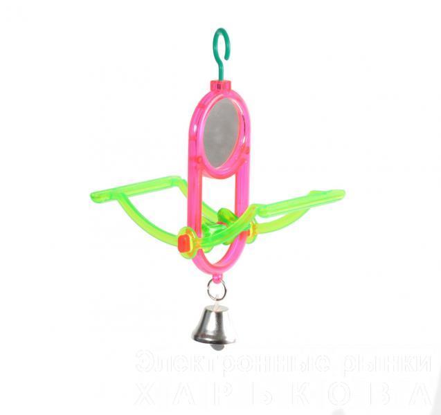 Качели с зеркалом и колокольчиком 7*17см8 - Игрушки для птиц, аксессуары в клетку на рынке Барабашова