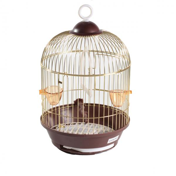 Клетка для птиц круглая золотая d23х37,5см