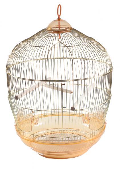 Клетка для птиц золотая круглая для средних попугаев, d48х68 см