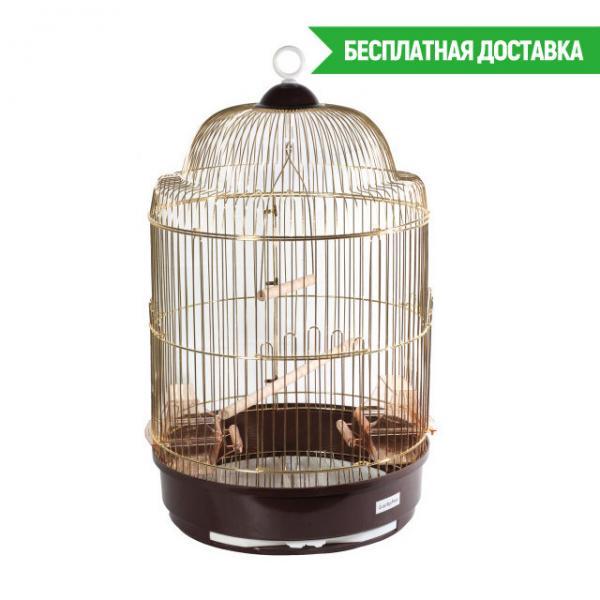 Клетка для птиц золотая круглая, d33х56,5 см