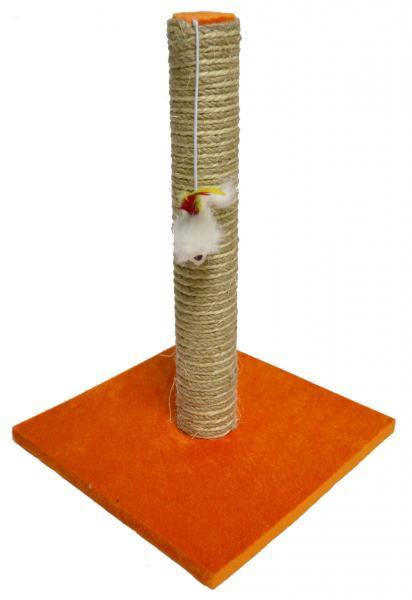 """Когтеточка-столбик """"Радуга"""" с мышкой, на квадратной подставке, джут-сизаль, 30*30*45 Харьков,  Херсон, Ник"""