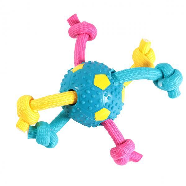 Фигура из мяча и цветных веревок с узлами, 9 см