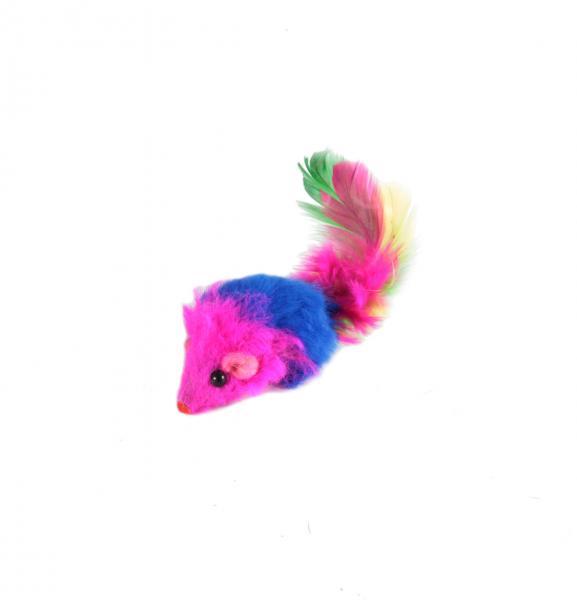 Мышь-погремушка с пером сине-красная из натурального меха