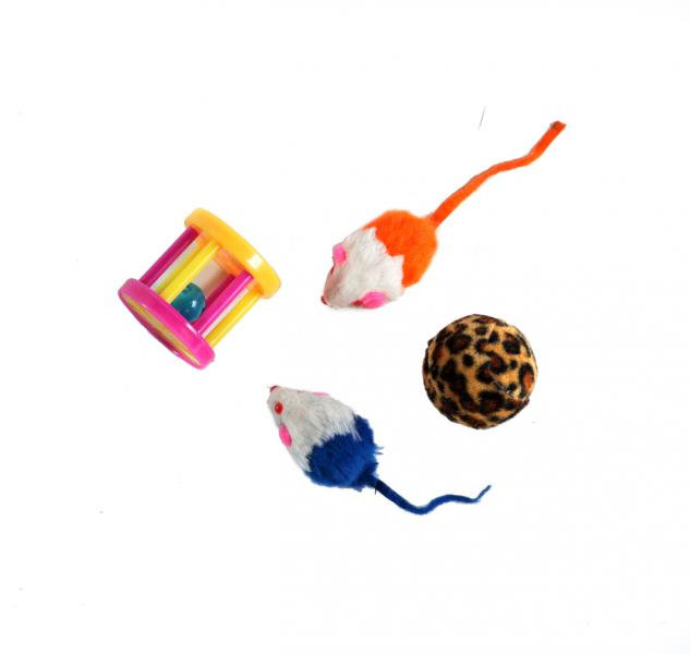 Набор игрушек для котов/кошек (2 мыши, меховой шар, барабан-погремушка)