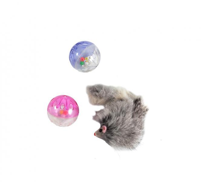 Набор игрушек д/кош (2пласт.шара+мех.мышь)