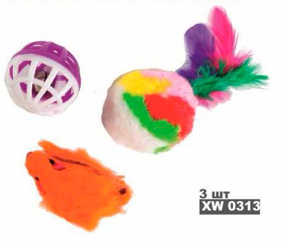 Набор игрушек д/кош (мышка+мех.шар с пером+ шар-погремушка)