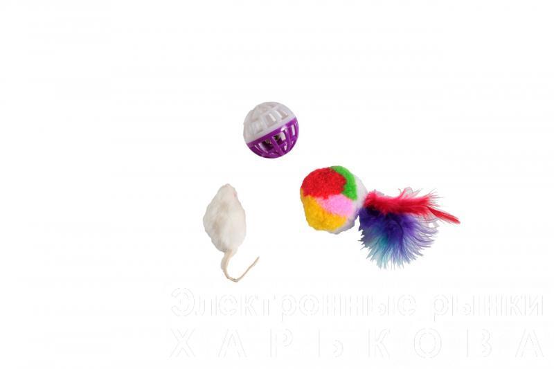 Набор игрушек д/кош (мышь, мех.шар, сетч.мяч) - Игрушки для кошек и котов на рынке Барабашова