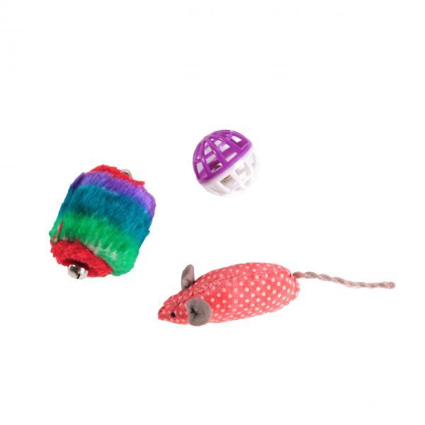 Набор игрушек д/кош (мышь, сетч.мяч, барабан)