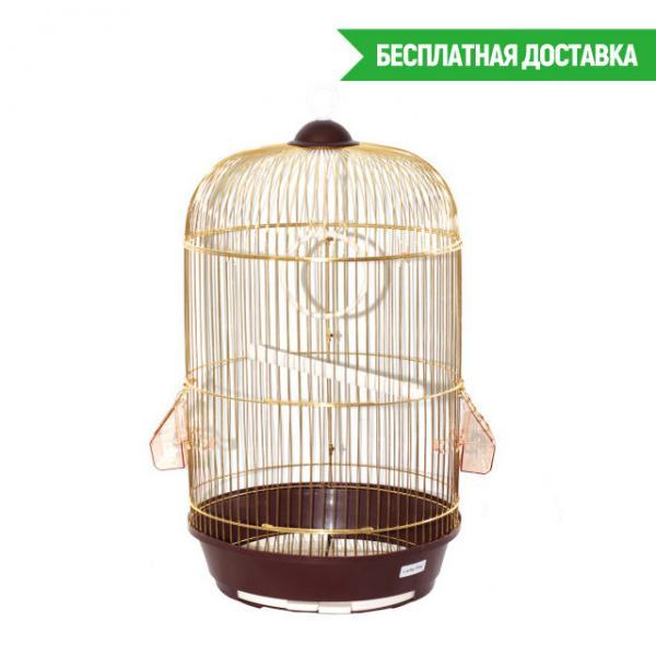 Клетка для птиц круглая Diana золотая d33х59см