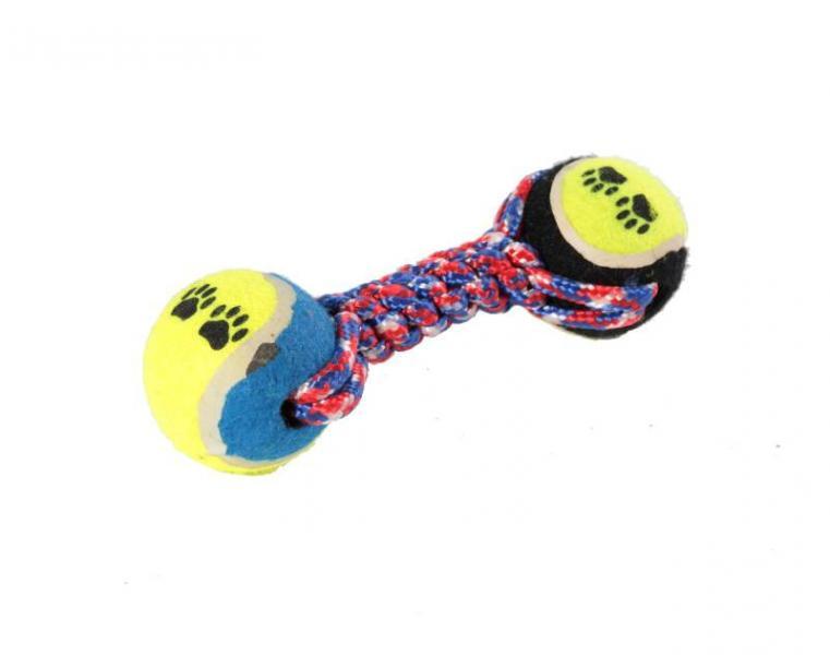 Канат грейфер цветной с двумя теннисными мячами