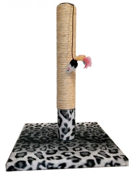"""Когтеточка-столбик """"Снежный барс"""", квадратной подставке, сизаль, игрушка-мышь, 30х45см Харьков, Киев, Херсон,"""