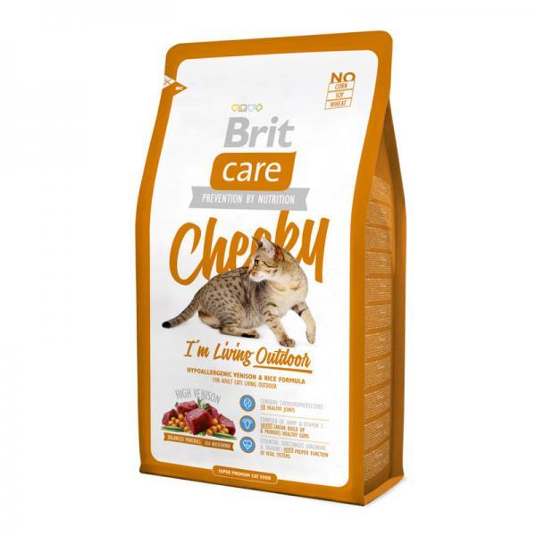 Brit Care Cat Cheeky с олениной и рисом для кошек, живущих на улице, 2 кг