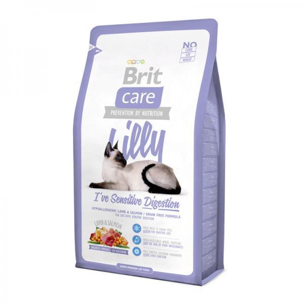 Brit Care Cat Lilly с ягненком и лососем для кошек с чувствительным пищеварением, 7 кг