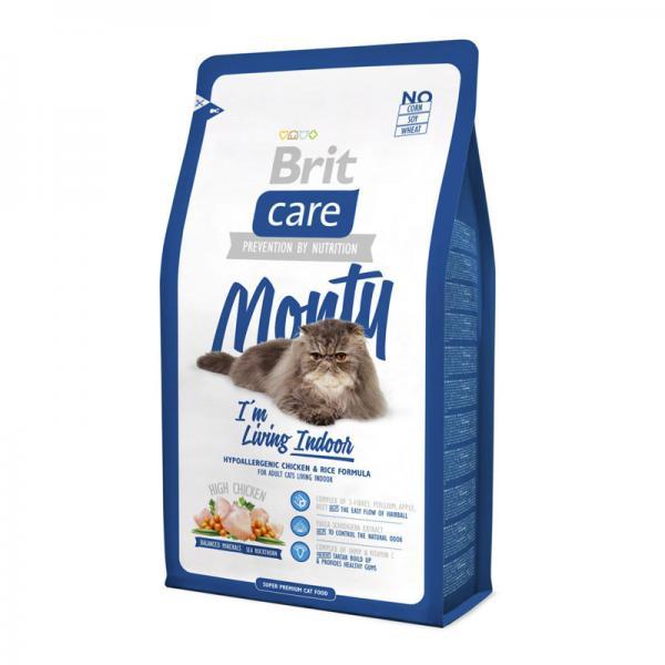 Brit Care Cat Monty с курицей и рисом для кошек, живущих в доме, 2 кг