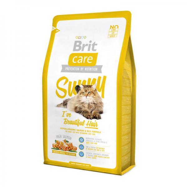 Brit Care Cat Sunny с лососем и рисом для кошек, дополнительный уход за шерстью, 7 кг
