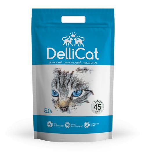 Силикагелевый наполнитель для кошачьих туалетов DelliCat Blue 5.0л