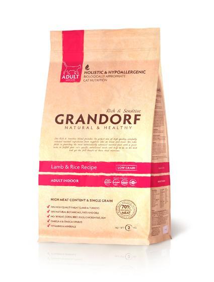 Grandorf Lamb & Rice ADULT INDOOR (Ягненок с рисом для взрослых кошек) 0,4 кг