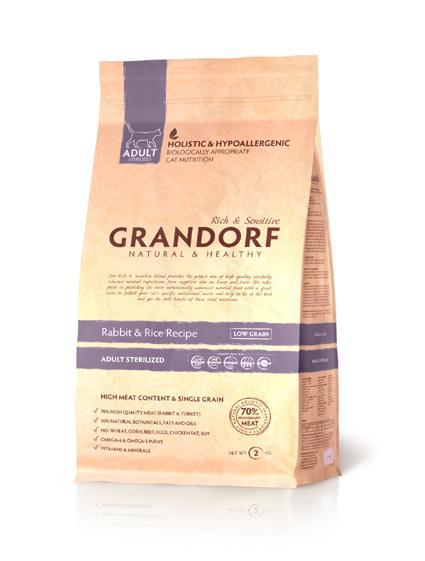 Grandorf Rabbit & Rice ADULT STERILIZED (Кролик с рисом для взрослых стерилизованных котов и кошек) 2 кг