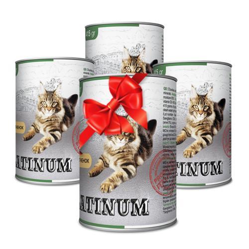 Покупай 4 по цене 3 PLATINUM сбалансированный корм премиум класса для кошек с мясом ягненка 415 г