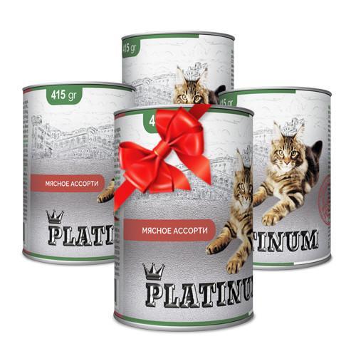 Покупай 4 по цене 3 PLATINUM Meat Мясной сбалансированный корм премиум класса для кошек 415 г