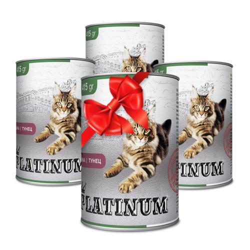 Покупай 4 по цене 3 PLATINUM Tuna сбалансированный корм премиум класса для кошек с тунцом 415 г