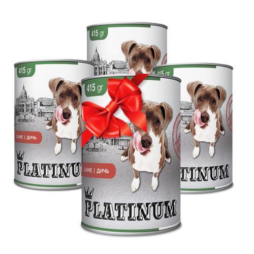 Покупай 4 по цене 3 PLATINUM Wild game сбалансированный корм премиум класса для собак с мясом дичи 415 г