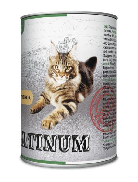 PLATINUM Lamb Cбалансированный корм для кошек с мясом ягненка  415 г/24