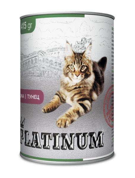 PLATINUM Tuna Cбалансированный корм для кошек с тунцем 415 г/24