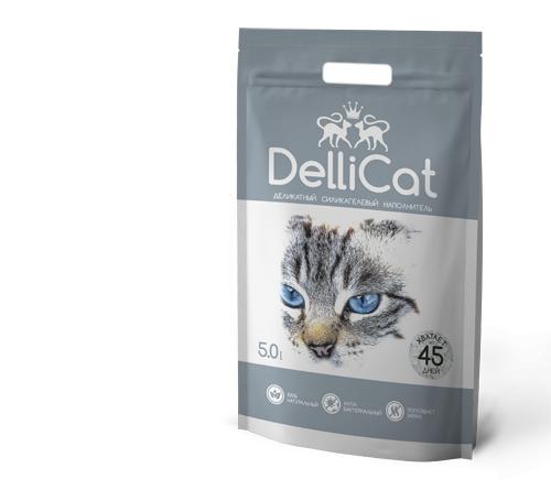 Силикагелевый наполнитель для кошачьих туалетов DelliCat Grey 5.0л