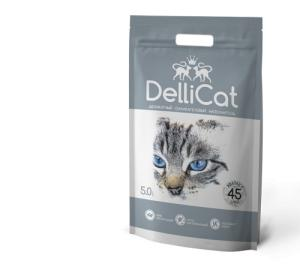 Фото Игрушки для птиц, аксессуары в клетку, Оптовым покупателям Силикагелевый наполнитель для кошачьих туалетов DelliCat Grey 5.0л