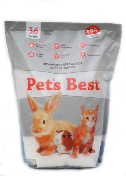 Силикагелевый наполнитель для туалетов котят, кроликов и грызунов Pet's Best Gray 3.6л/8