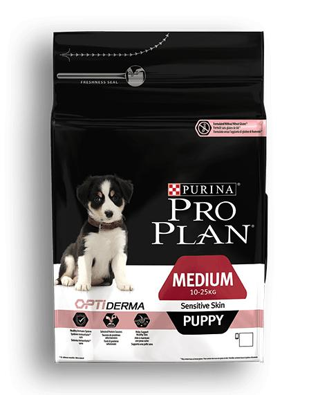 Purina Pro Plan Puppy Medium Sensitive Skin для щенков средних пород с лососем, 12 кг