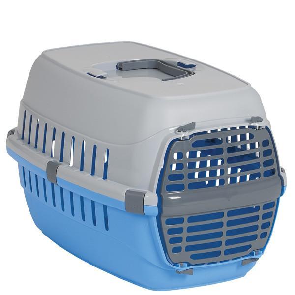 Moderna МОДЕРНА РОУД-РАННЕР 1 переноска для собак и кошек, с пластиковой дверью, 51х31х34 см, ярко-голубой