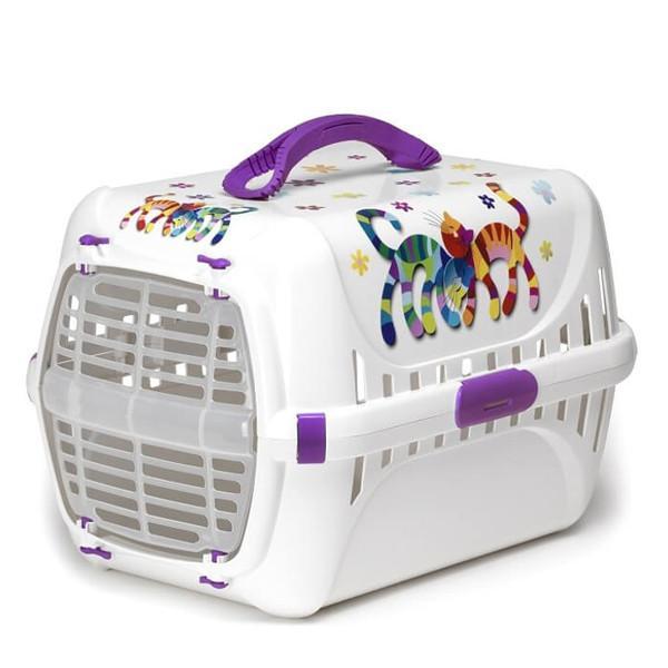 Moderna Trendy Runner Friends Forever МОДЕРНА ТРЕНДИ-РАННЕР переноска для кошек c пластиковой дверцей, фиолетовый, дизайн Друзья Навеки, фиолетовый,