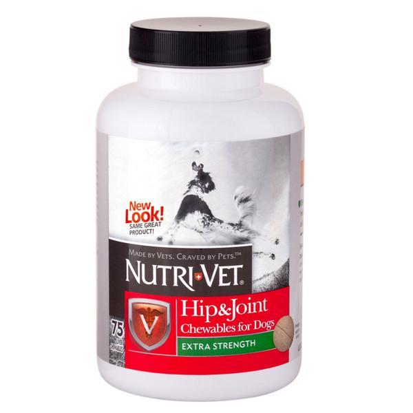 Nutri-Vet Hip&Joint Extra НУТРИ-ВЕТ СВЯЗКИ И СУСТАВЫ ЭКСТРА, 2 уровень, хондроитин и глюкозамин для собак, 75 табл.