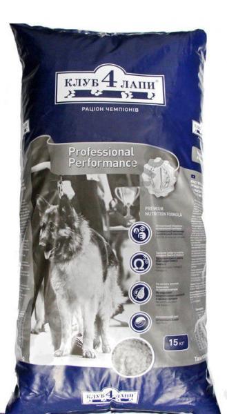 Клуб 4 Лапы Professional Performance корм для взрослых собак средних и крупных пород, 15 кг, Харьков, Киев, Хе